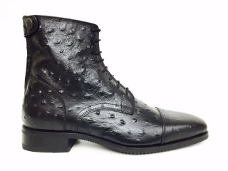 Black Ostrich Ankle Boots | Image 1