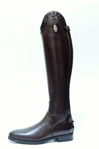 Brown Riding Boots with Croc Detailing | Image 1