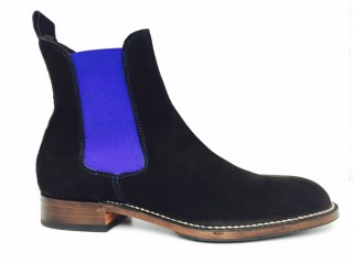 Brown Chelsea Boots with Royal Blue Elastic | Image 1