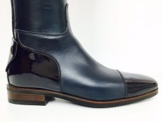 Navy riding boots with patent top | Image 3